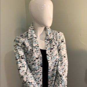 Button front blouse 97% cotton 3% spandex